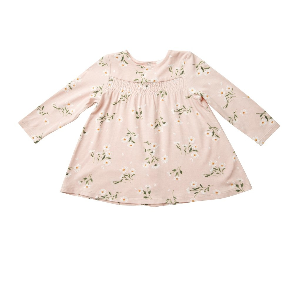 Angel Dear Pretty Daisies Bamboo Pink Smocked Top And Legging Set