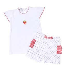 Magnolia Baby Fresh Strawberries Ruffle Flutter Bubble and Short Set