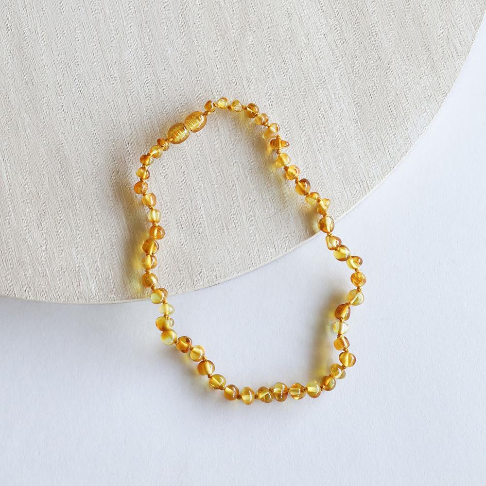 """Canyon Leaf Baltic Amber 11"""" Necklace (Polished) - Honey"""