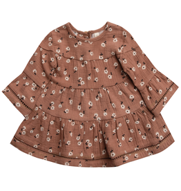 Quincy Mae Quincy Mae Clay Ditsy Organic Belle Dress