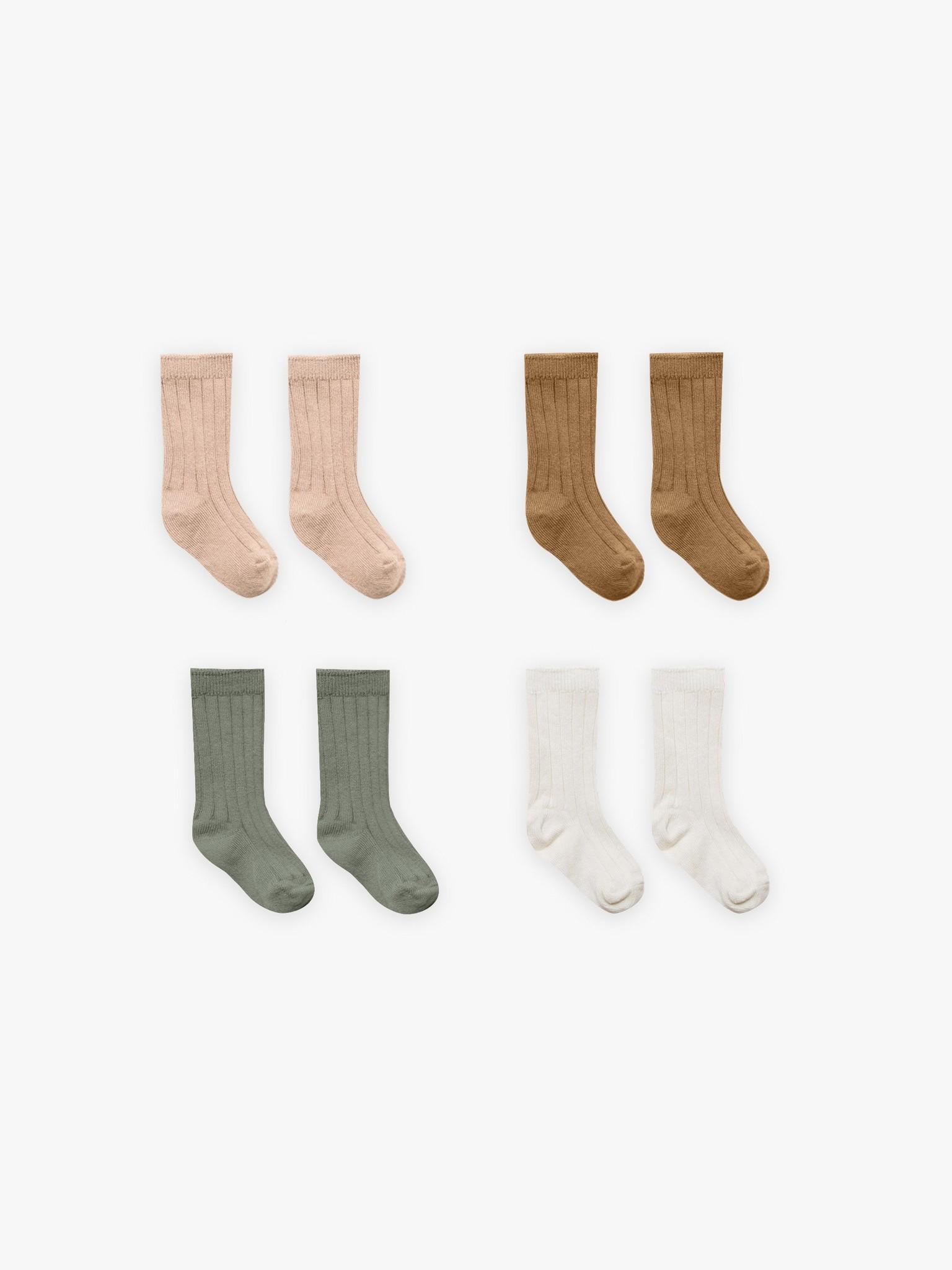 Quincy Mae Quincy Mae Organic  4-Pack Socks - Ivory/Basil/Petal/Walnut
