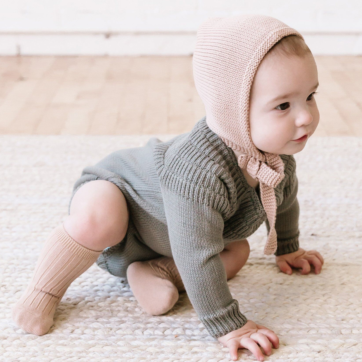 Quincy Mae Quincy Mae Petal Organic Knit Pixie Bonnet