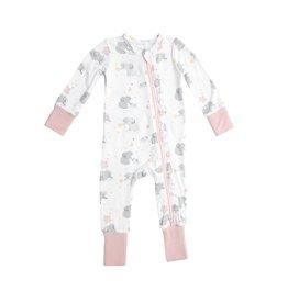 Angel Dear Pink Elephants 2-Way Bamboo Zipper Romper
