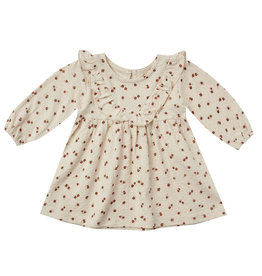 Quincy Mae Quincy Mae Natural Petite Floral Organic Long Sleeve Ruffle V Dress and Bloomer Set