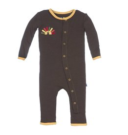 KicKee Pants KicKee Pants Layette Applique Coverall - Bark Turkey