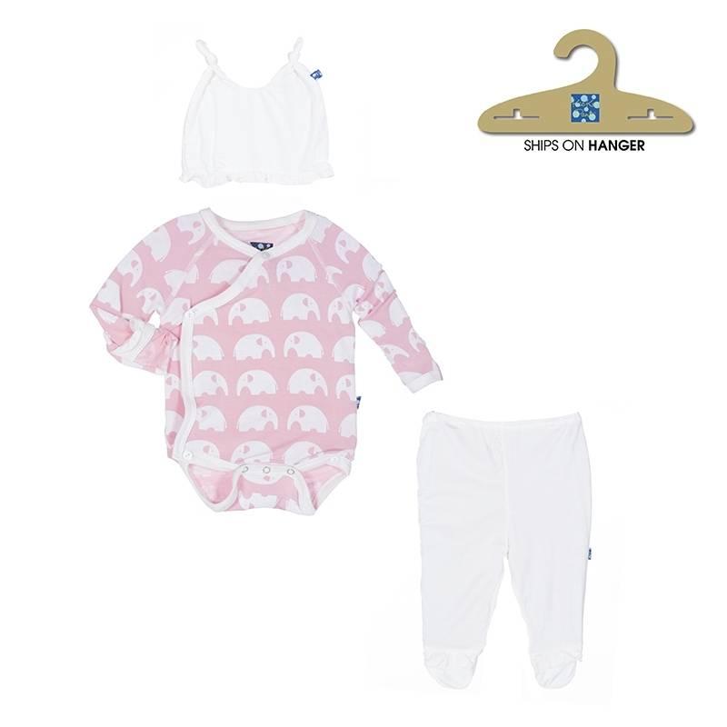 KicKee Pants KicKee Pants Ruffle Kimono Newborn Gift Set in Lotus Elephant