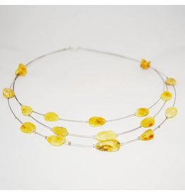 The Amber Monkey The Amber Monkey Adult Amber Necklace 17-18 in Wire Tiers - Milk Bean