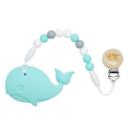 glitter and spice Glitter & Spice Silicone Clip On Teether - Whale
