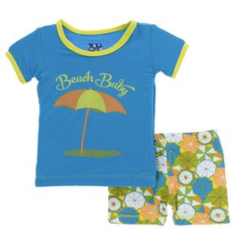 KicKee Pants KicKee Pants Short Sleeve PJ Set with Shorts - Beach Umbrellas