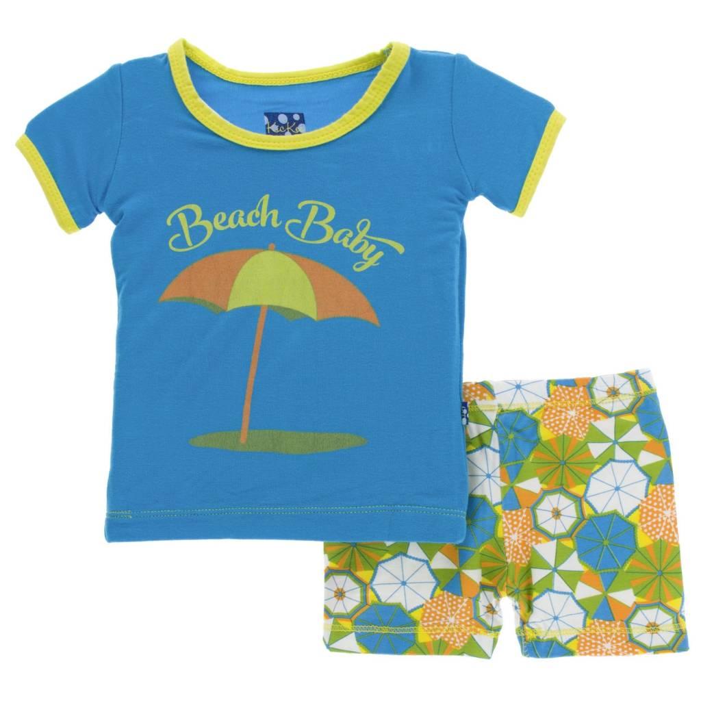 KicKee Pants KicKee Pants Short Sleeve PJ Set with Shorts - Beach Umbrellas