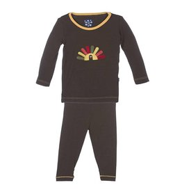KicKee Pants KicKee Pants Long Sleeve PJ Set - Bark Turkey
