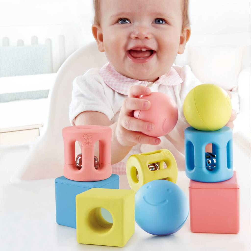 Hape Geometric Rice Rattle Trio