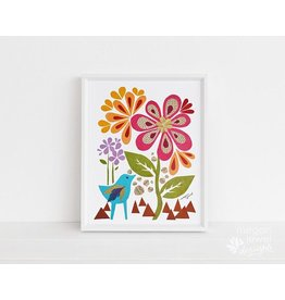 Megan Jewel Designs Bluebird Flower - 11x14 Framed Nursery Print