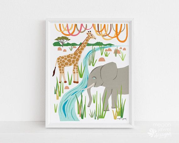 Megan Jewel Designs Savannah - 8x10 framed nursery print