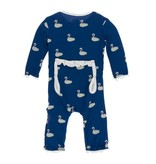 KicKee Pants KicKee Pants Print Muffin Ruffle Coverall with Zipper- Navy Queen's Swan