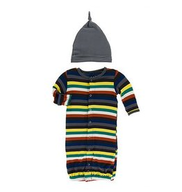 KicKee Pants KicKee Pants Layette Converter Gown & Knot Hat Set- Dark London Stripe