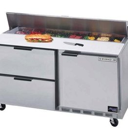 "Beverage Air Sandwich Unit, 2 Drawer, 1 Door, 16 Pan, 60"", 17.1 cu.ft."