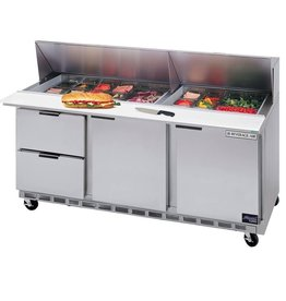 "Beverage Air Sandwich Unit, 2 Drawer, 2 Door, 8 Pan, 72"", 21.5 cu.ft."