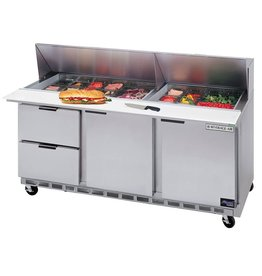 "Beverage Air Sandwich Unit, 4 Drawer, 1 Door, 18 Pan, 72"", 21.5 cu. ft."