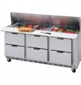 "Beverage Air Sandwich Unit, 6 Drawer, 18 Pan, 72"", 21.5 cu. ft."