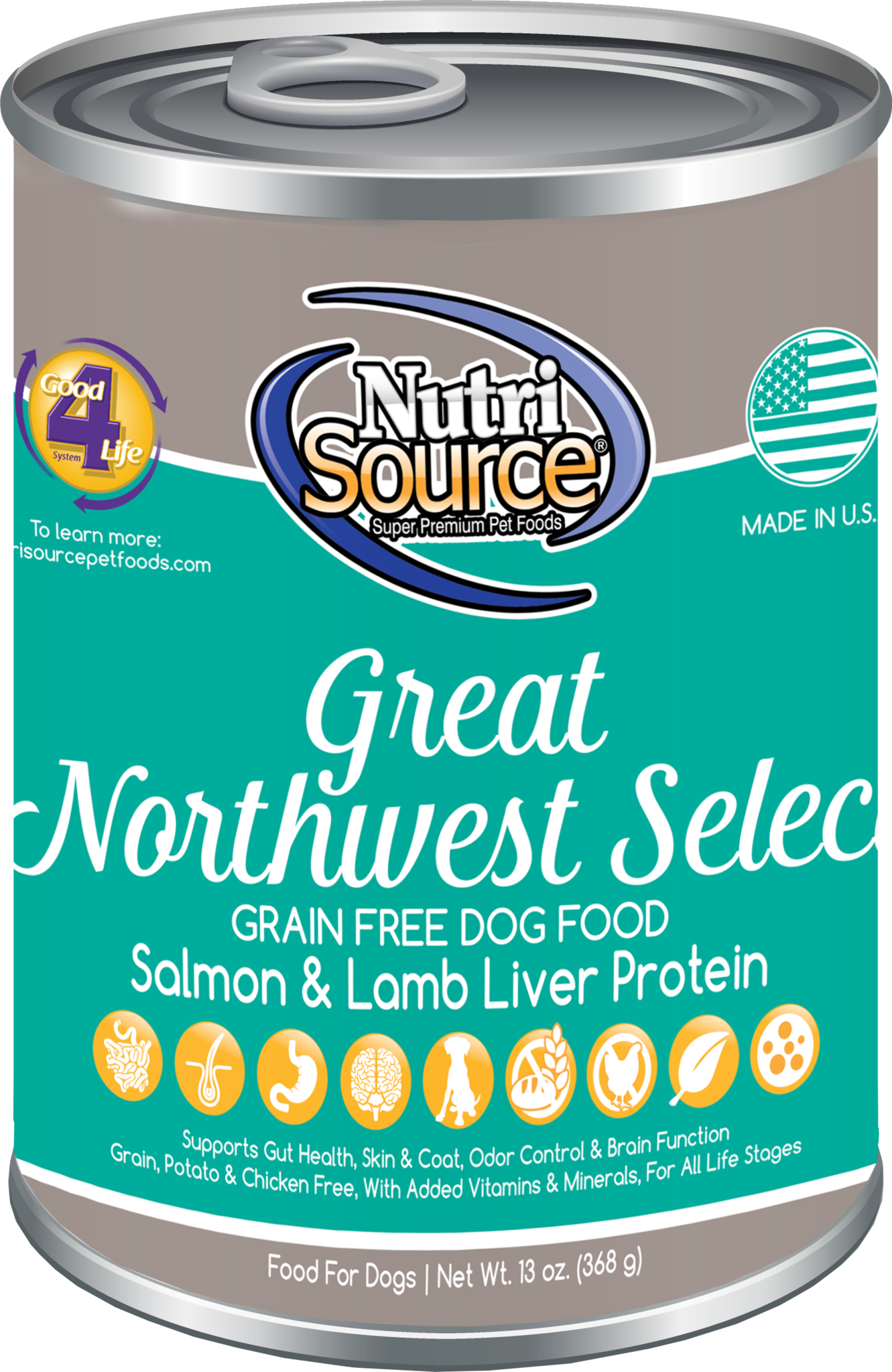 Nutrisource Nutrisource Grain Free Great NorthWest Can 13oz case of 12