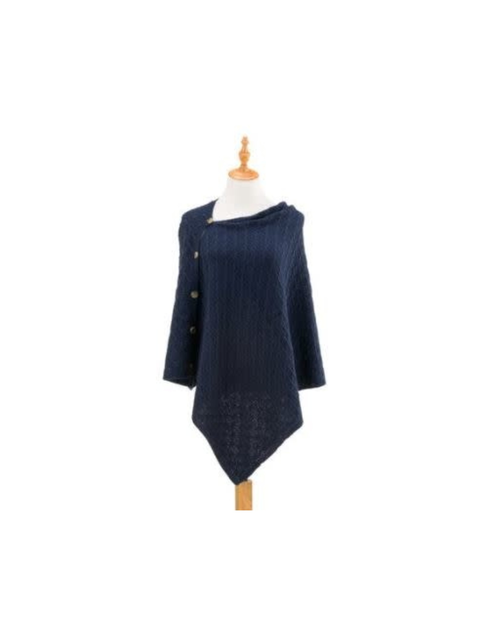 Demdaco NAVY KNIT BUTTON PONCHO