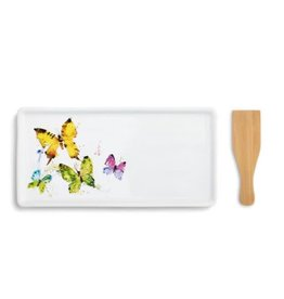 Demdaco FLOCK OF BUTTERFLIES APPETIZER TRAY WITH SPATULA