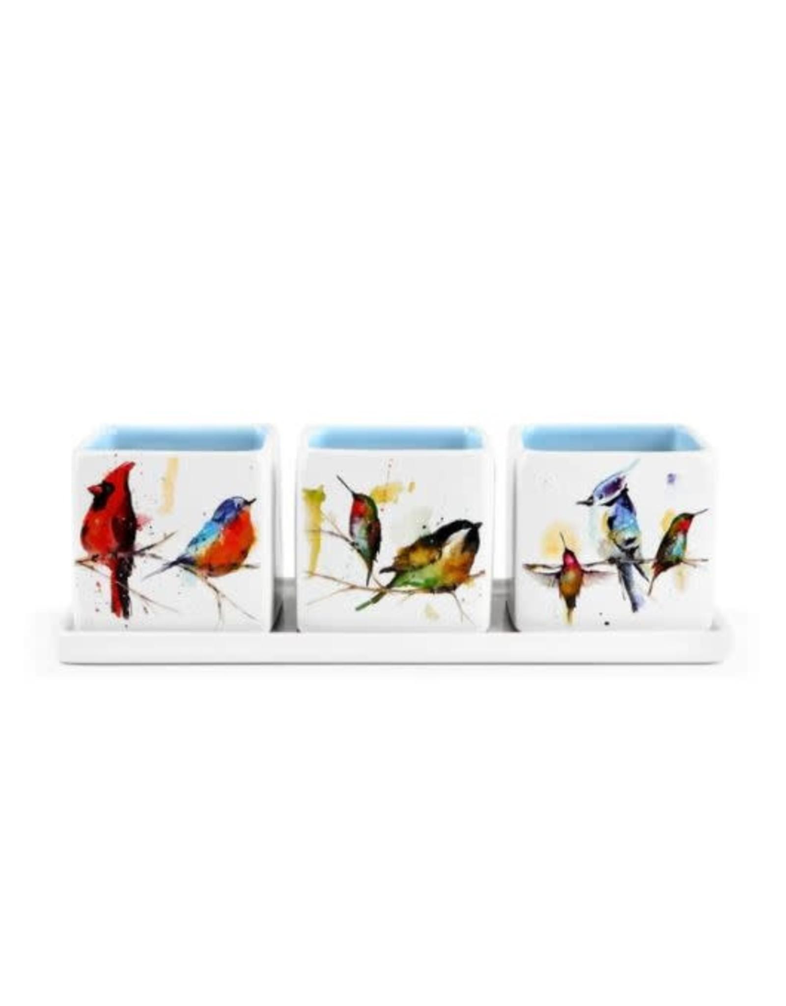Demdaco LITTLE BIRDS HERB PLANTER SET
