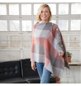 Demdaco GRAY CORAL REVERSIBLE PONCHO