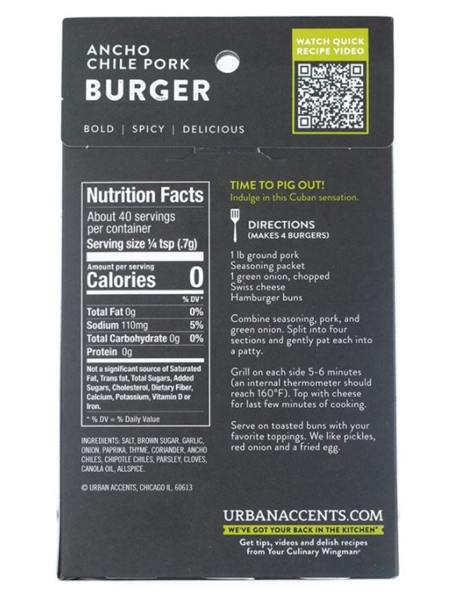 Urban Accents SMOKY SWEET CHILE BURGER MIX