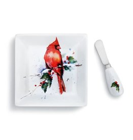 Demdaco CARDINAL AND HOLLY PLATE AND SPREADER SET