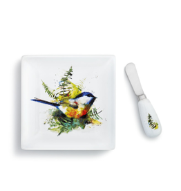 Demdaco CHICKADEE AND FERN PLATE WITH SPREADER
