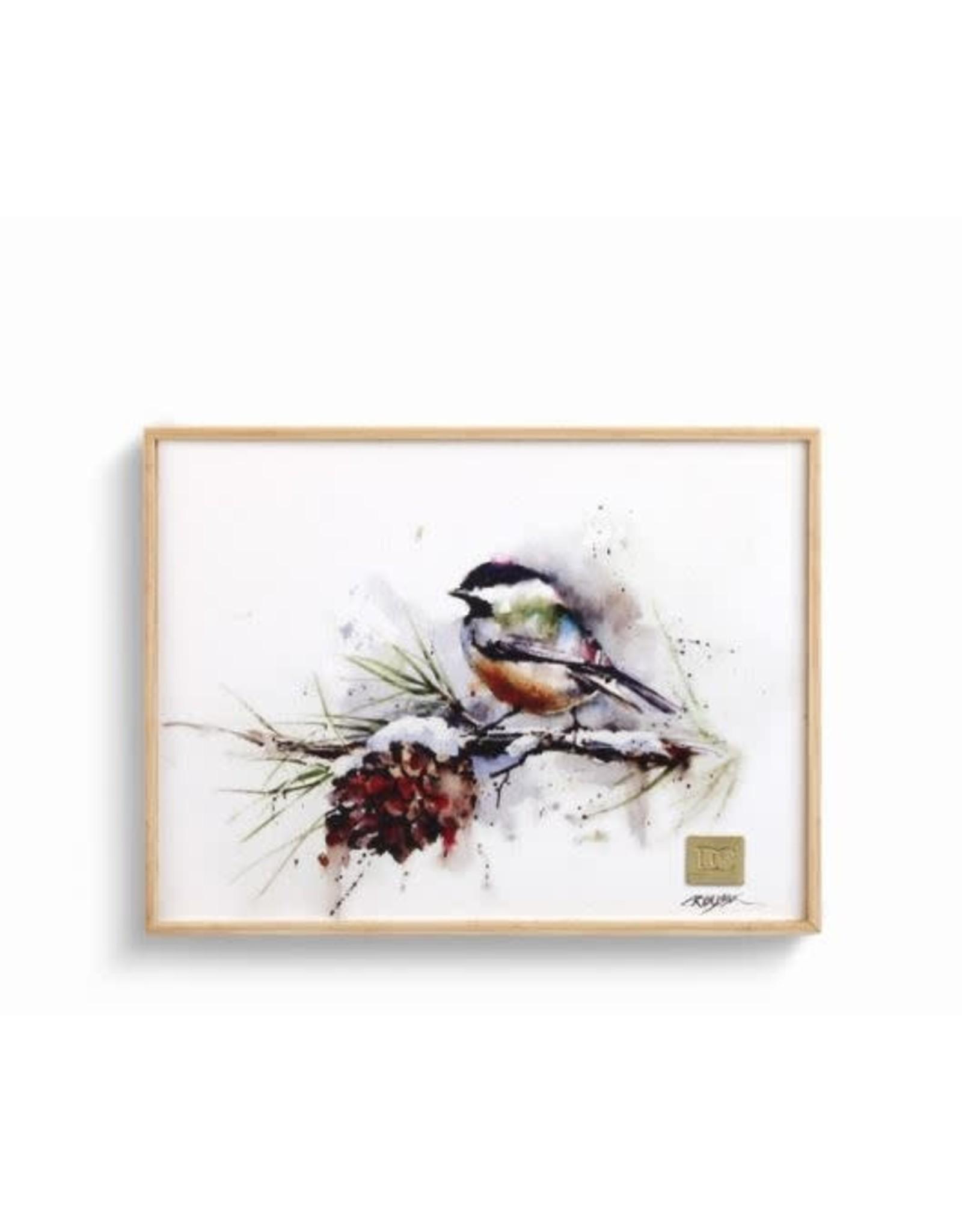 Demdaco CHICKADEE AND PINECONE WALL ART 6X8