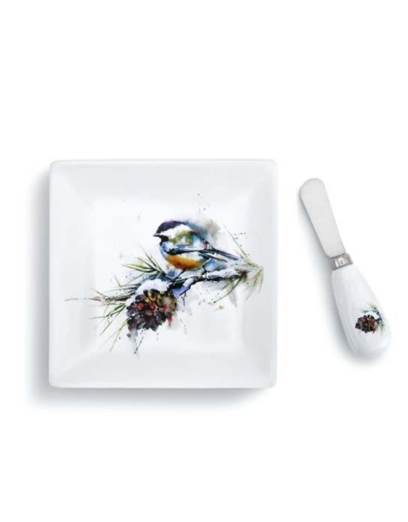 Demdaco CHICKADEE PINECONE PLATE AND SPREADER SET