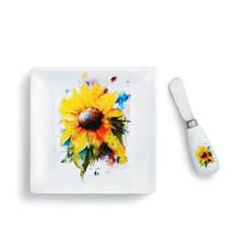 Demdaco SUNFLOWER PLATE WITH SPREADER