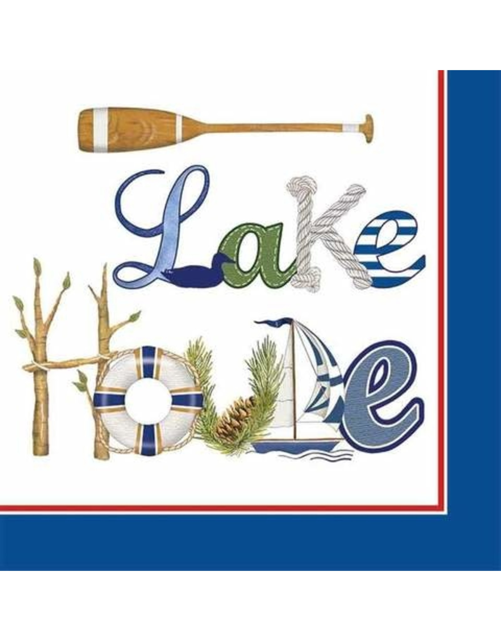 Paper Products Designs LAKE HOUSE BEVERAGE NAPKIN