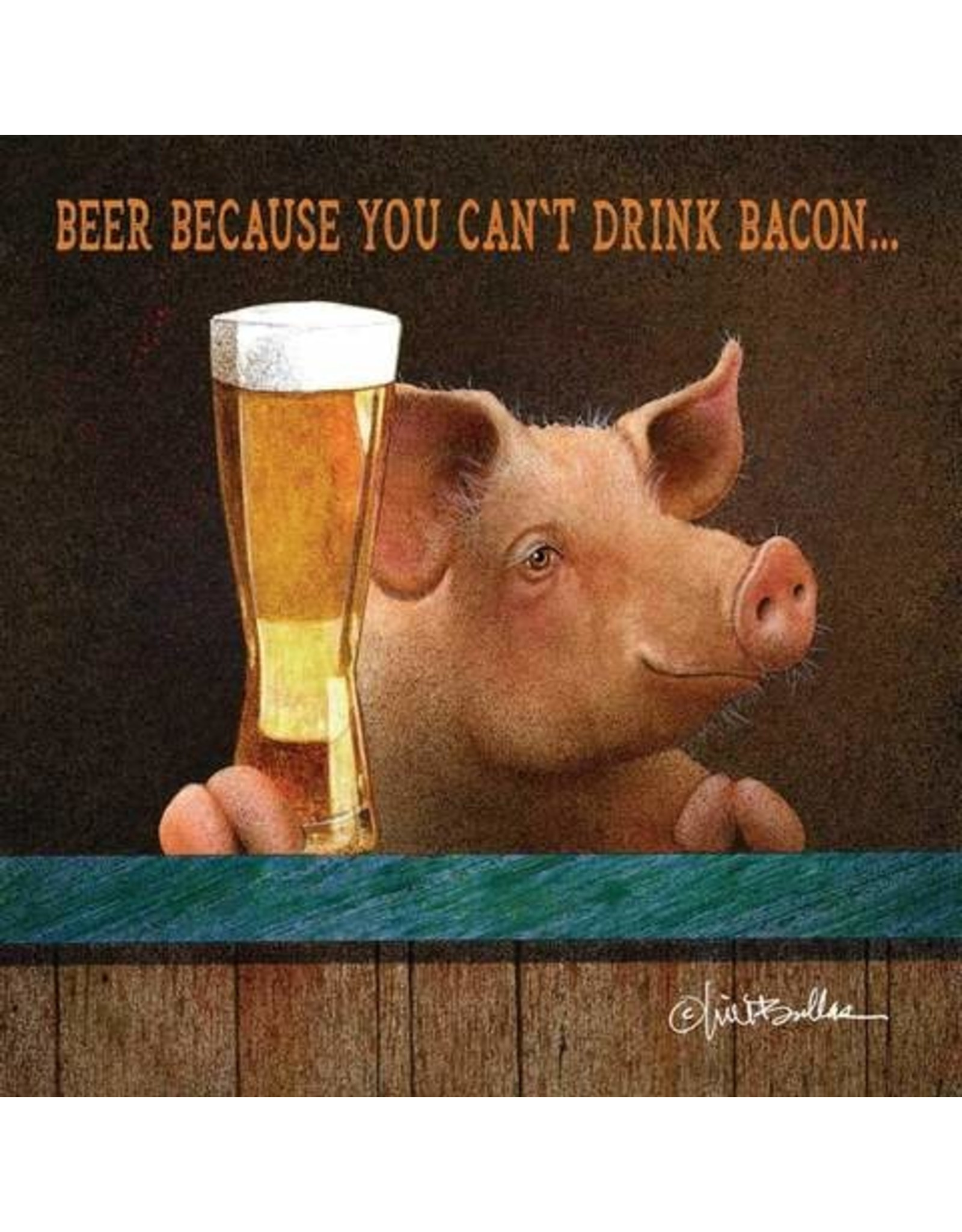 Paper Products Designs CAN'T DRINK BACON BEVERAGE NAPKIN