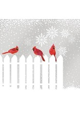 Paper Products Designs SNOWFALL CARDINALS BEVERAGE NAPKIN