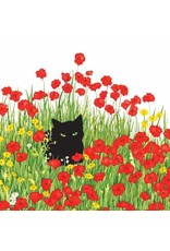 Paper Products Designs BLACK CAT POPPIES BEVERAGE NAPKIN