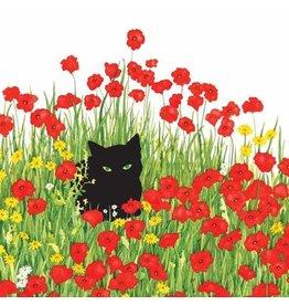Paper Products Designs BLACK CAT POPPIES BEVERAGE NAPKIN