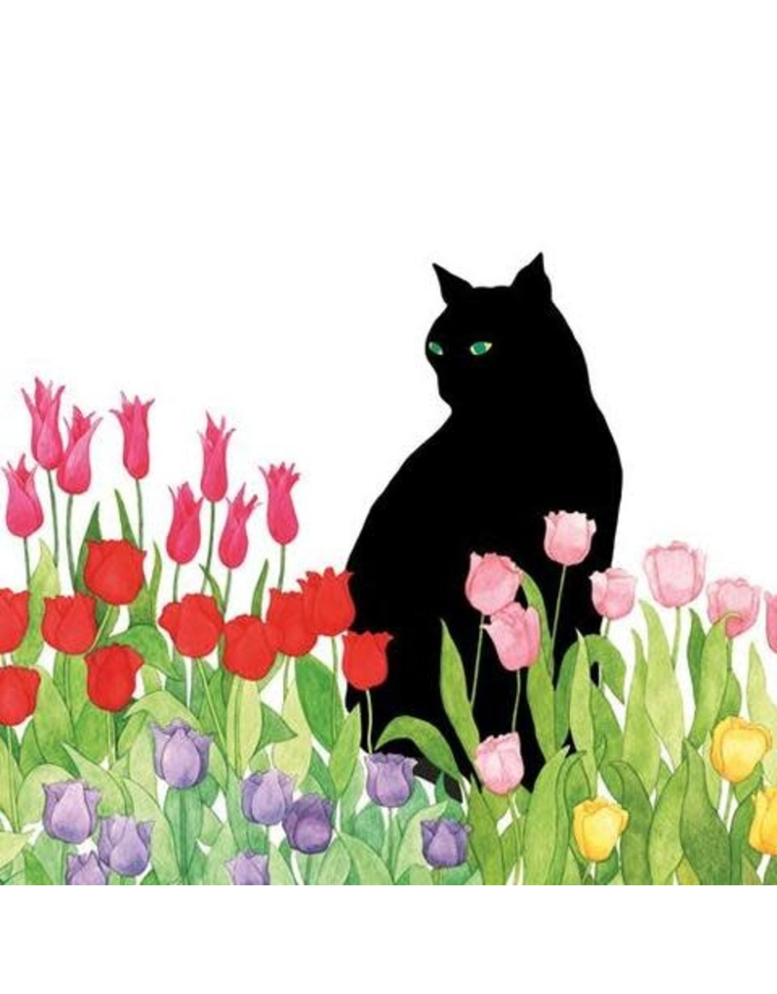 Paper Products Designs BLACK CAT TULIPS LUNCH NAPKIN