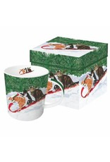 Paper Products Designs TOBOGGANING CATS MUG IN GIFT BOX