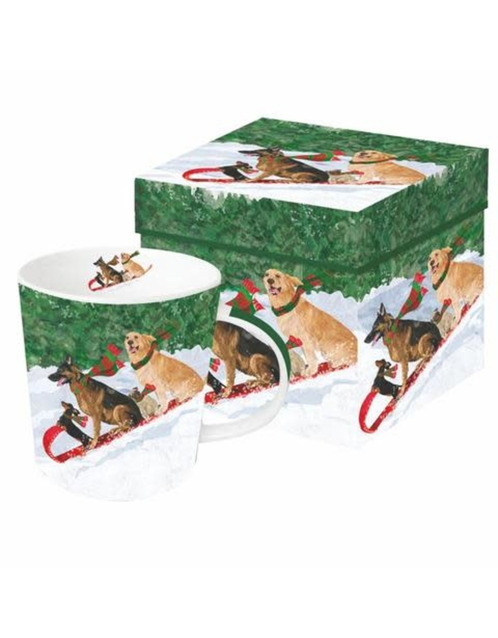 Paper Products Designs TOBOGGANING DOGS MUG IN GIFT BOX
