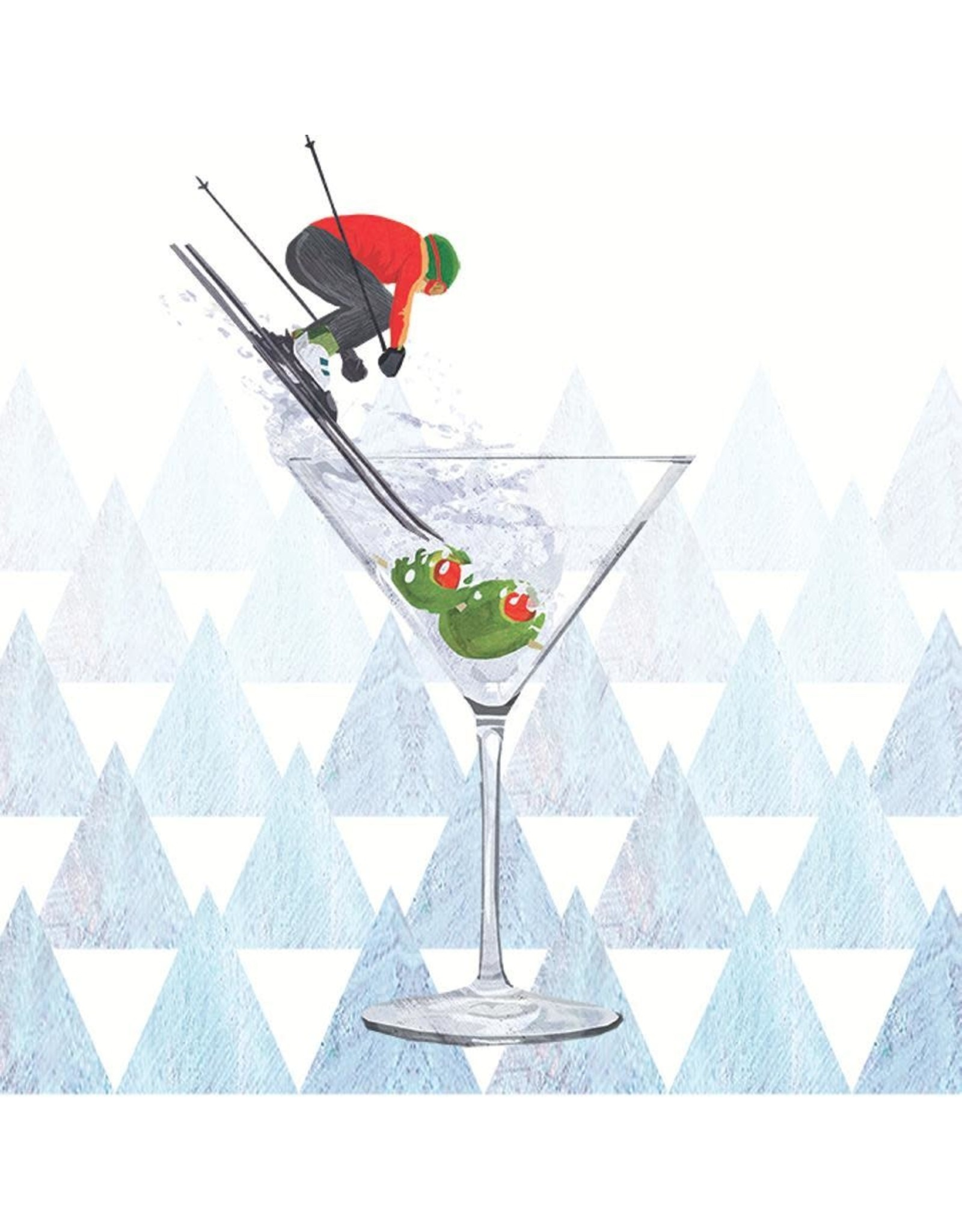 Paper Products Designs APRES SKI MARTINI BEVERAGE NAPKIN