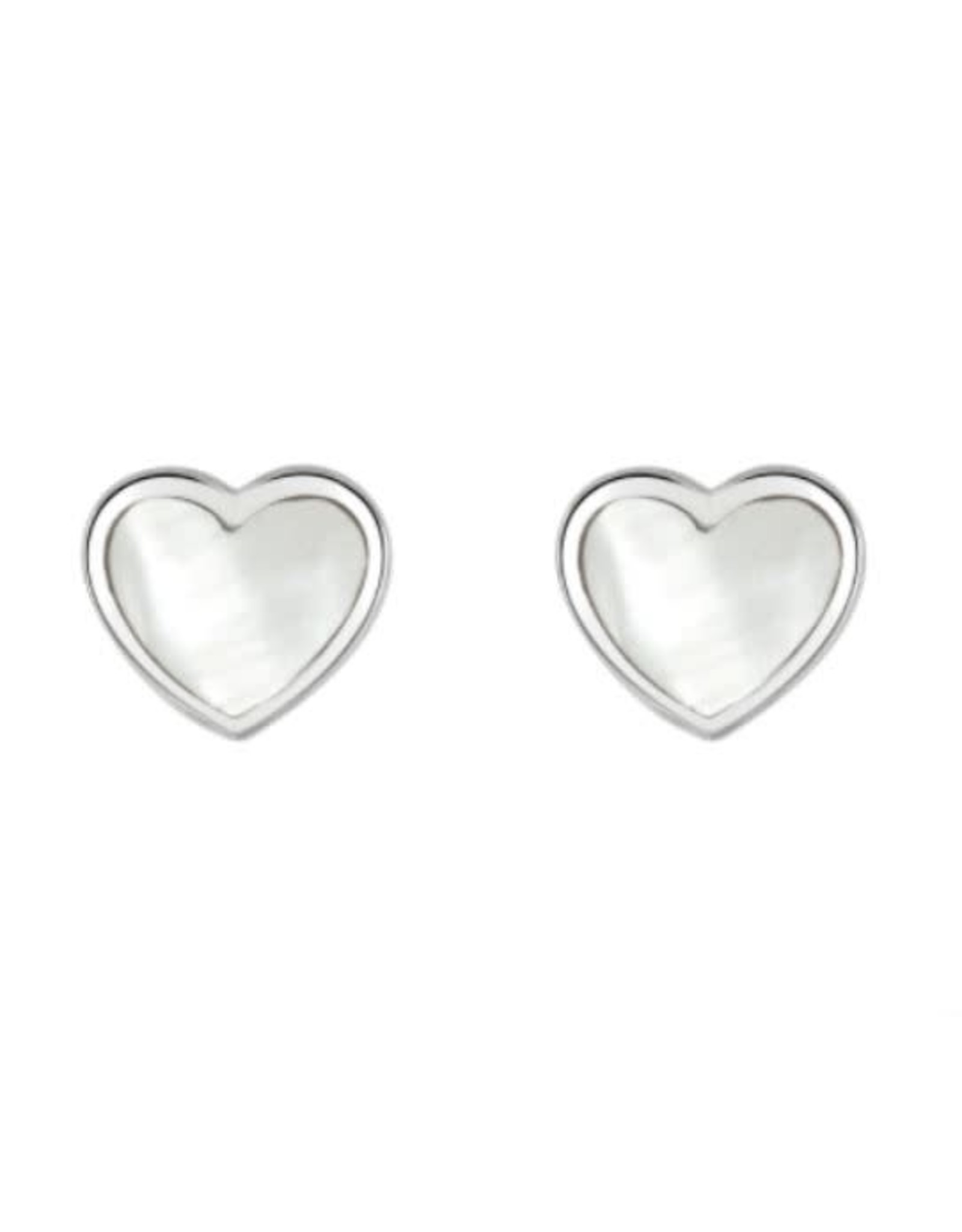 Kit Heath WHITE MOTHER OF PEARL HEART STUD EARRING