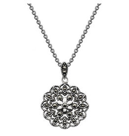 "Kit Heath MARCASITE FLOWER 18"" NECKLACE"