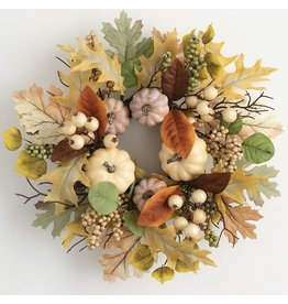 Sullivans PUMPKIN LEAF BERRY WREATH 16""