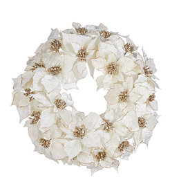 Raz Imports WHITE POINSETTIA WREATH 21""
