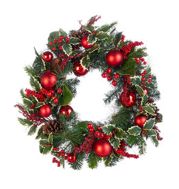 Raz Imports HOLLY PINECONE WREATH 26""