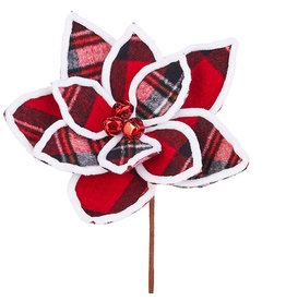 Raz Imports PLAID POINSETTIA PICK 12""
